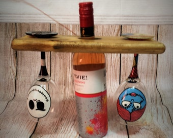 Wooden Wine Glass Holder - Wine Caddy - Wine Storage - Floating glass holder - Wine Bottle Stand - Wine lover -Wine Bottle Holder
