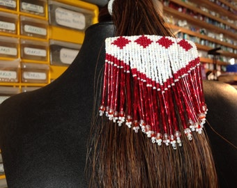Red and white Czech and bugle beaded fringed barrette