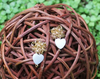 Goldfield wire earrings with  heart