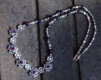 Silver and Purple Flower Beaded Necklace