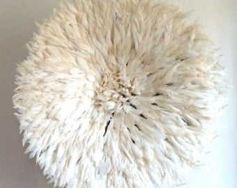 Juju Hat - (Large - 33in) Authentic - Wall decor feather headdress - Off White