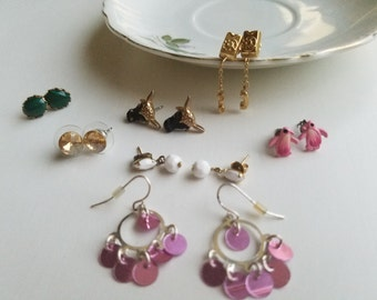 Vintage Lot! Unique! - Large Lot of Dangling and Stud Earrings - Retro Chic Classics for Pierced Ears. 1970's-early 1990's
