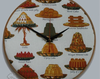 Clock, Desserts and Puddings, Embroidery Hoop, 10 inch