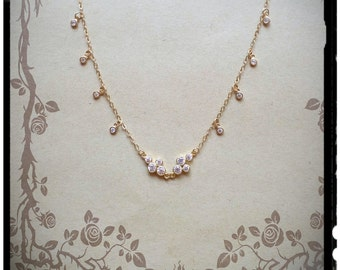 Layering Necklace, Gold Filled, CZ Necklace, Drop Neclace