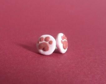 Handmade Paws Polymer Clay Stud Earrings