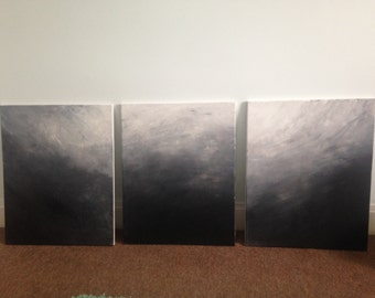 Dark & Stormy hand painted canvases: series of 3