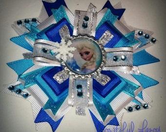 Glitzy Elsa pinwheel hair bow