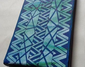 Blue geometric/zentangle watercolour and ink canvas