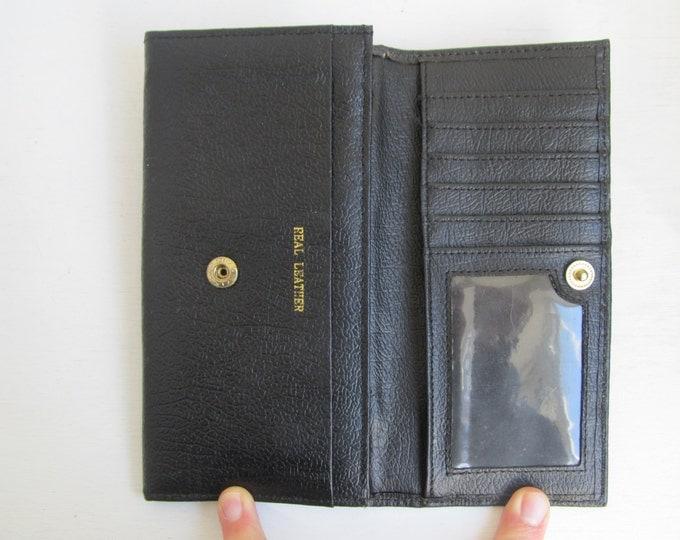 Black leather wallet, travel wallet, classic mens wallet, 1980s credit card holder, real leather wallet, vintage wallet, black purse