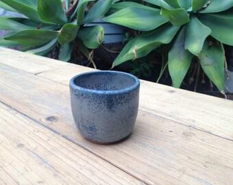 Blue wheel thrown Tea Cup
