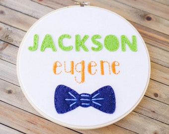 Embroidery Hoop with Name and Felt Bowtie