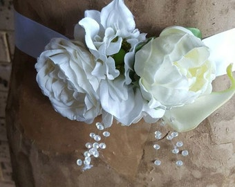 White and Ivory Floral Wedding Sash, Maternity Sash,  baby shower sash