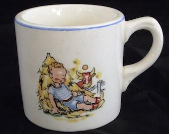Vintage Little Boy Blue Childrens Ceramic Mug unmarked
