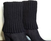 Black crochet boot cuffs -boot cuffs - boot toppers - women's boot cuffs - black boot cuffs - ready to ship