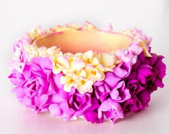 Bracelet Wrist Bangle Flowers Romantic pink purple