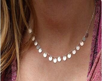 Silver Round Tassle Necklace NK7034
