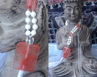 Soft Love Gemstone Mala.  Bohemian Jewelry.