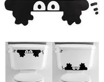 Funny Peeking Monster Decal Sticker For Toilet, Monster Decal, Monster Yeti Decal, Monster Toilet Decal, Monster Coffee Cup Decal,