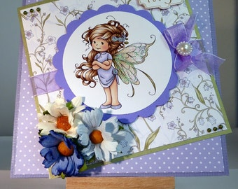 Female Birthday Card - Fairy - luxury personalised unique quality special bespoke UK - Mum/Grandma/Daughter/Aunt/Niece/Sister/Wife