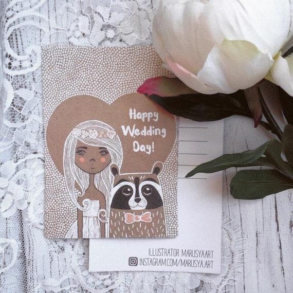 Postcard Prints - Happy Wedding Day, Raccoon illustration