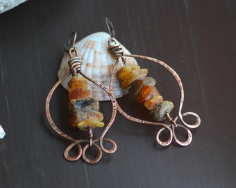 Hammered Copper Earrings, Copper Wire Wrapped Earrings, Antiqued Earrings, Rustic Earrings, Metal Earrings, Wire Earrings