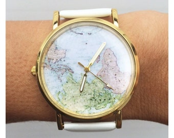 Cute white world map vintage inspired watch