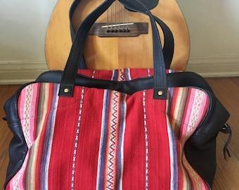 Handmade Weekender Travel Bag// Handmade Duffle Bag// Guatemalan Fabric Weekender// Leather Duffle Bag