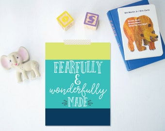 Fearfully and Wonderfully Made, 8x10 Printable, Color Block