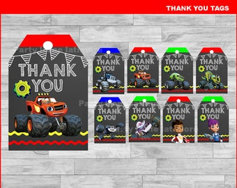 Blaze and the Monster Machines Thank you Tags Instant download, Blaze and the Monster Machines Chalkboard tags, Monster Machines tags