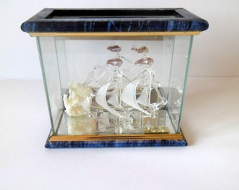 Gift ideas,Boat inside a glass box, antiques, vintage