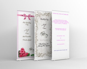 Wedding Roll Up Banners Signage Personalize To Your Own Requirements
