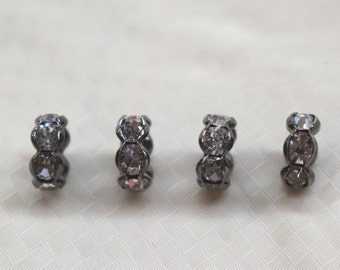 100 pcs Crystal Rhinestone Gunmetal Plated Copper beads,Gunmetal plated rondelle spacer beads,6/8/10/12mm