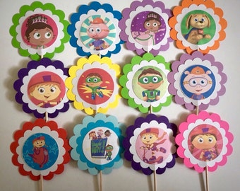 Super Why birthday favors, 12 Super Why birthday decorations, Supper Why cupcake toppers  or party tags