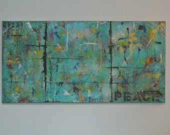 original Abstract Painting 36x18 Canvas Blue Multi Media Artwork