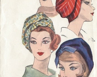 "1953 Vintage VOGUE Sewing Pattern HAT S23"" (1144) By Guy Laroche Vogue 5336"