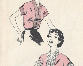 1950s Vintage Sewing Pattern B40 BLOUSE (1037) Weldons 3815