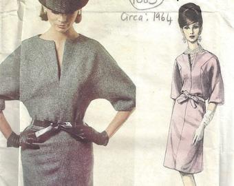 """1964 Vintage VOGUE Sewing Pattern DRESS B36"""" (1685) By Patou Vogue 1377"""