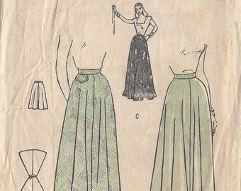"""1940s Vintage Sewing Pattern SKIRT W:26"""" (R607) Butterick 4432"""