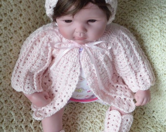 Baby Sweater, Hat & Booties
