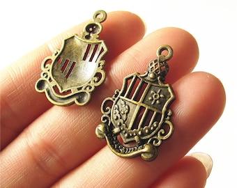 Crown Medal Charm Pendant Antique Brass Drop Handmade Jewelry Finding 32x44mm 2 pcs