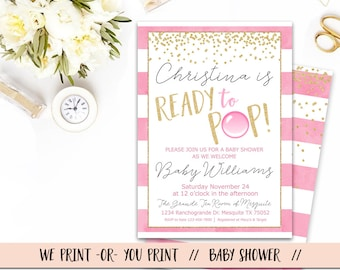 Ready to Pop Baby Shower Invitation, Girl Baby Shower Invitation, Ready To Pop Invitation, Pink Gold Baby Shower, Ready to Pop Babyshower
