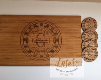Personalized cutting board and coaster, Weddong Gift, Anniversary Gift, Birthday Gift, Housewarming Gift, Engraved