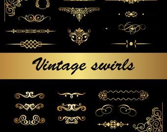 Flourishes and Page Decorations Digital Gold Swirls VECTOR Clip Art Flourish Vintage Page Decoration Clipart Elegant Ornaments