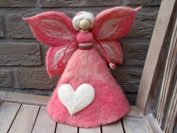 Needle Felted Pink Fairy Angel Tree Topper