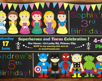 Sale Superhero and Princess Invitation, Superhero and Princess Birthday Invitation, Twins Birthday Invitation, Personalized -DIGITAL FILE