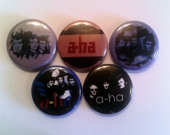 "5 x A-ha 1"" Pin Button Badges ( new wave synthpop a ha aha norway )"