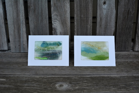 Needle Felted cards-note cards,plain cards,handmade cards,stationary