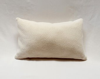 """16"""" x 10"""" Cotton Sherpa Crib or Lumbar Pillow with Feather Insert"""