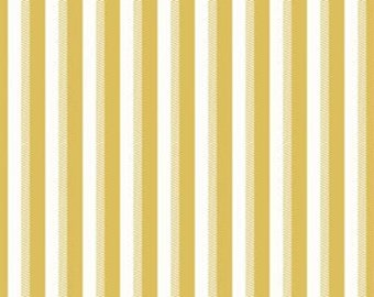 Yellow and White Stripe Fabric - Riley Blake Wiltshire Stripe Fabric - Yellow and White Fabric