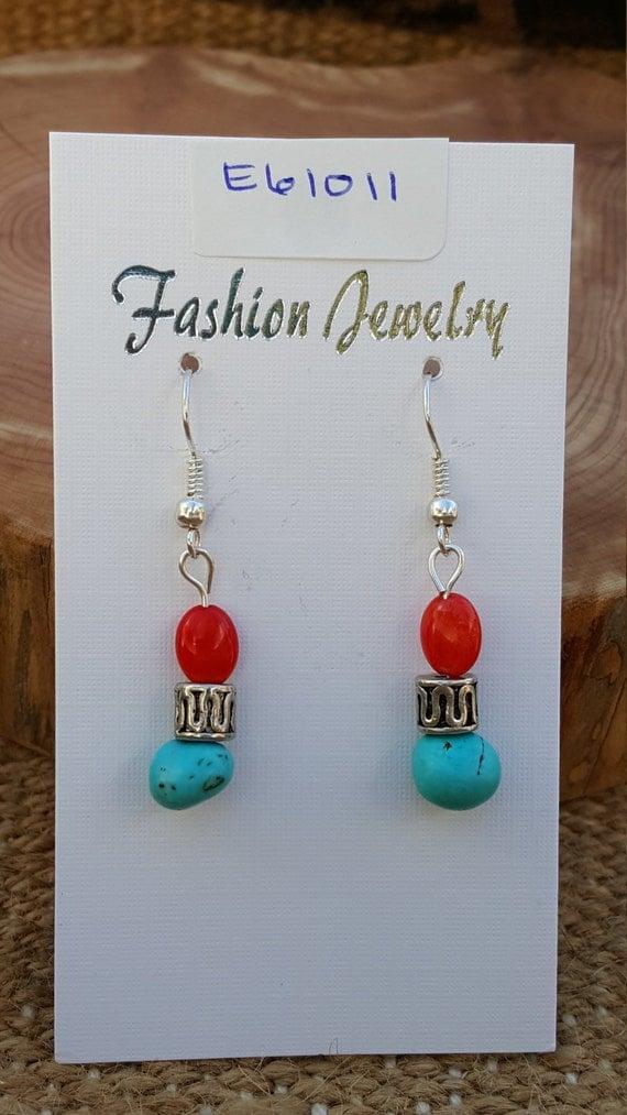 Turquoise Coral Earrings / Turquoise Stone / Coral Stone / Semi Precious Stones / Dangle Earrings / Hippie Earrings / Boho Jewelry /E61011